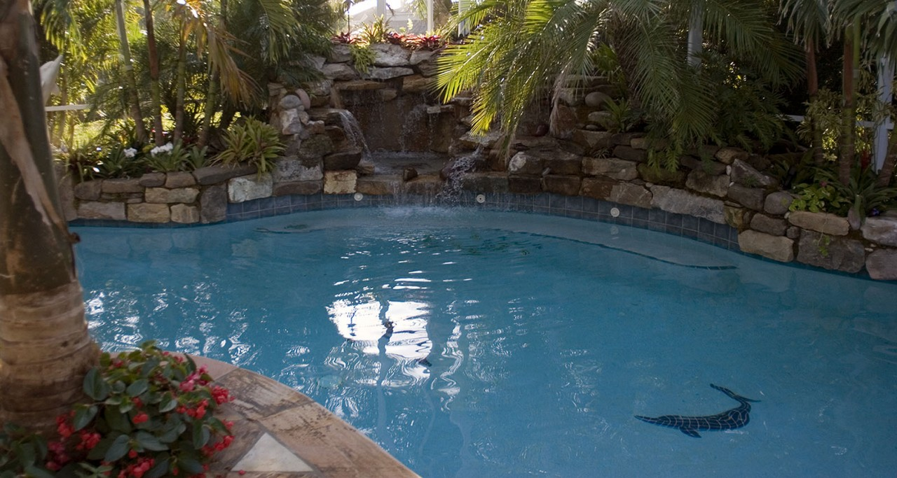 lagoon pool remodel with mosaic flagstone deck lucas lagoons. Black Bedroom Furniture Sets. Home Design Ideas