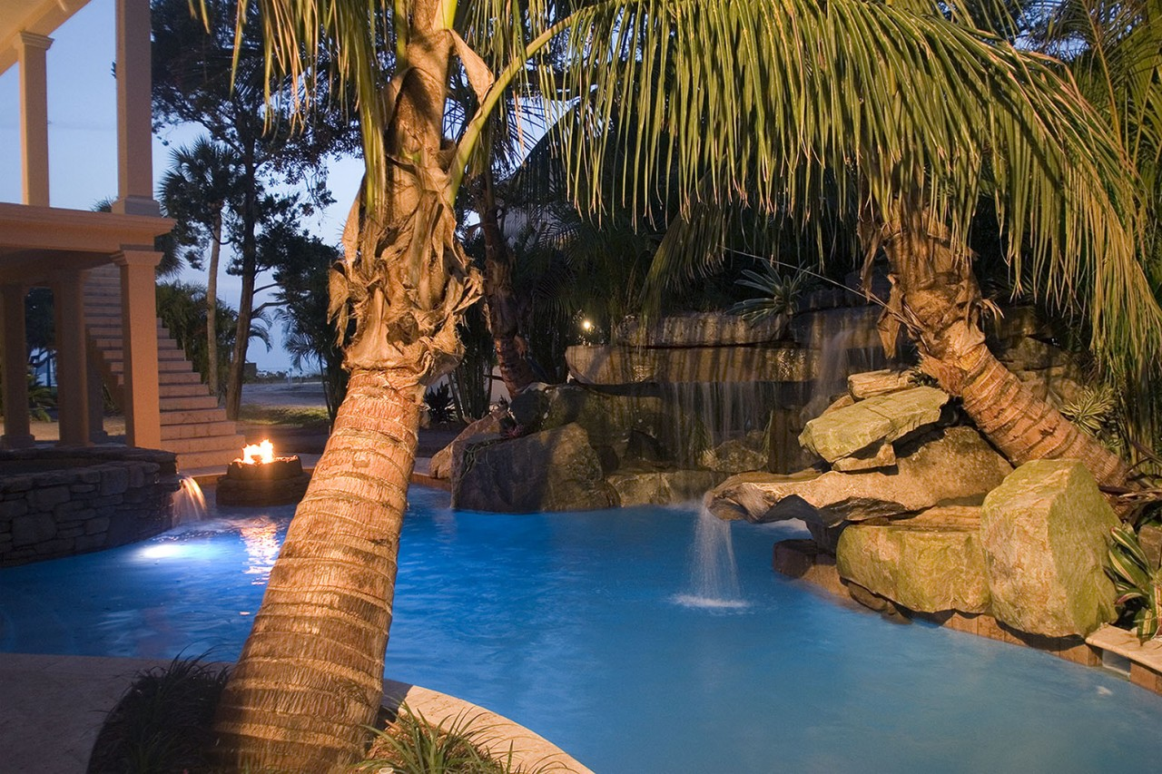 lagoon pool with spa grotto waterfall and fire pit lucas lagoons. Black Bedroom Furniture Sets. Home Design Ideas