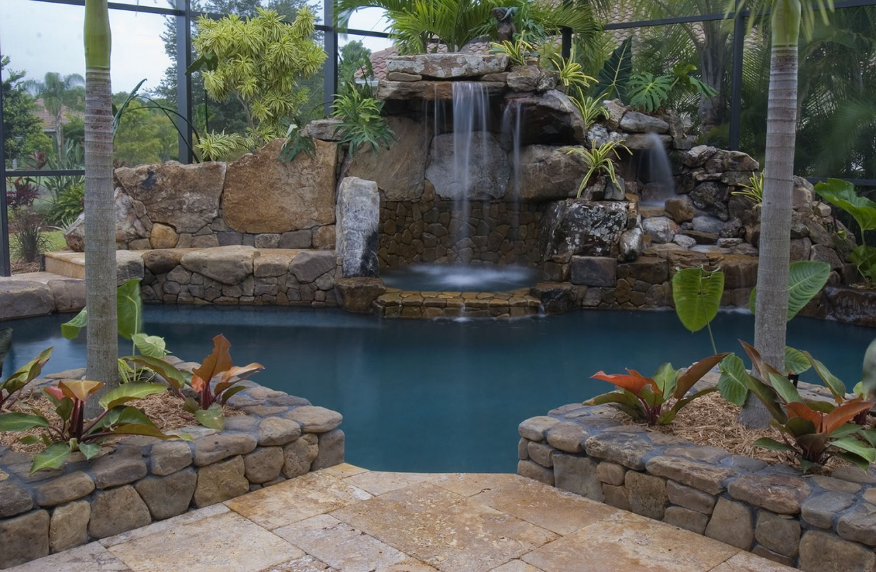 Lucas Lagoons Waterfall Architectural Pool Remodel