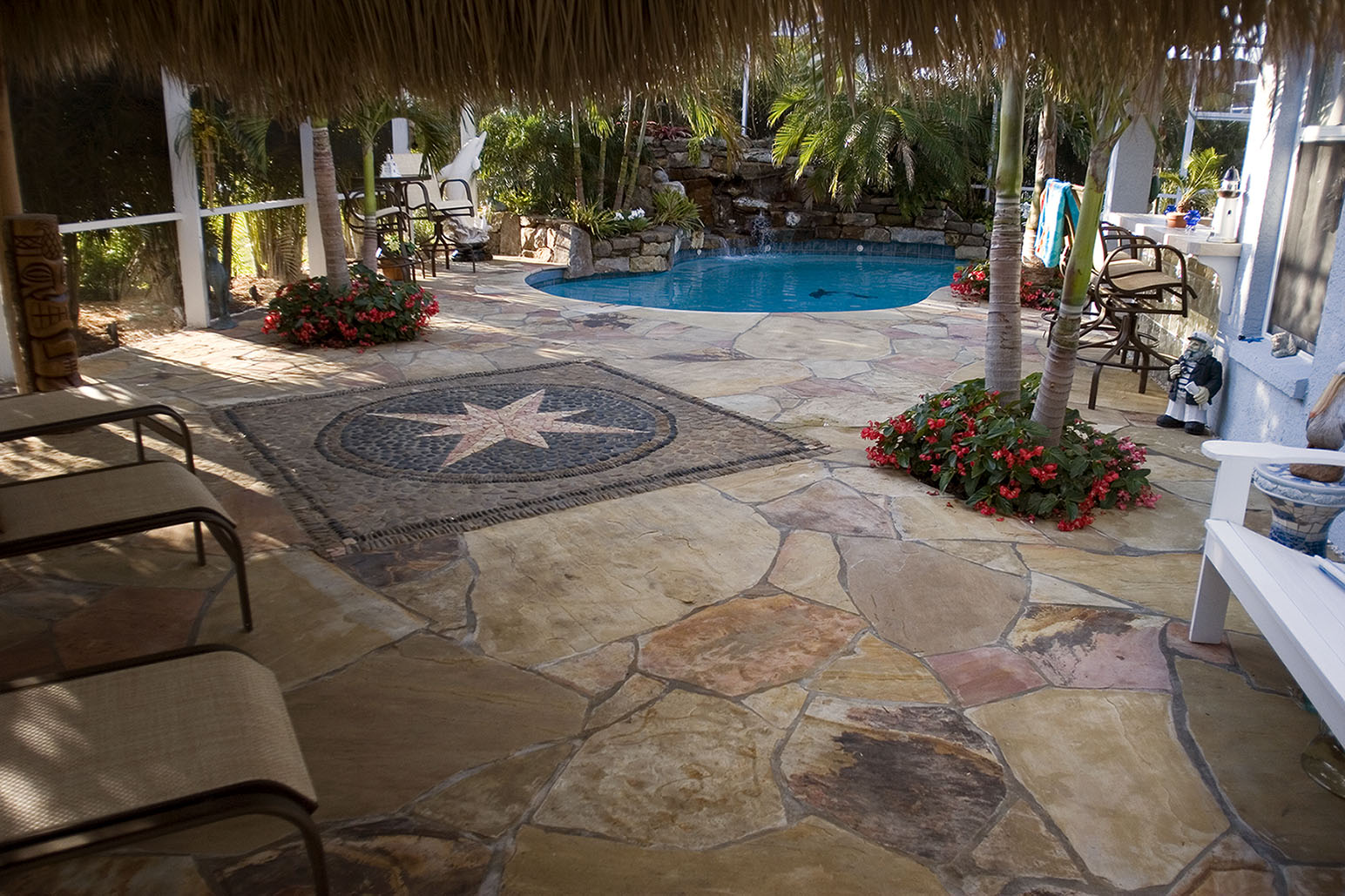 Lagoon pool remodel with mosaic flagstone deck lucas lagoons for Pool redesign