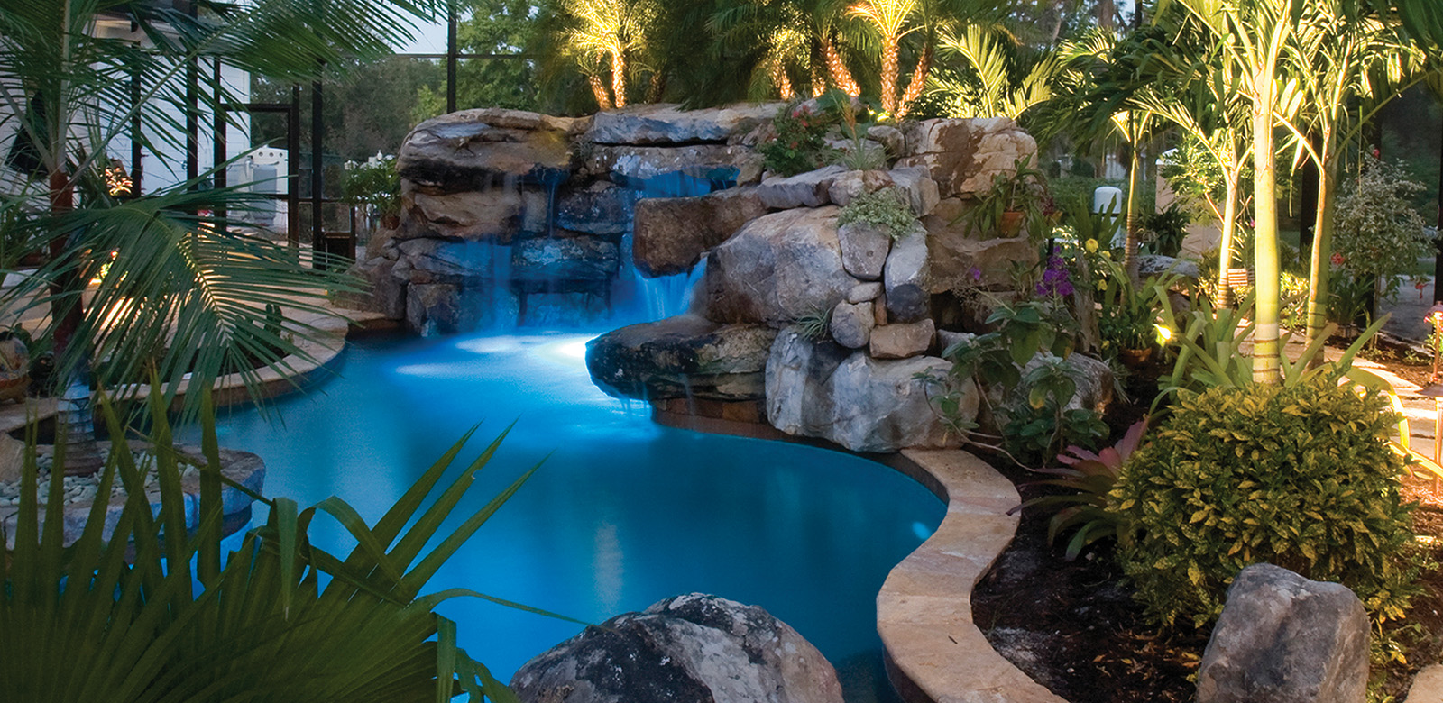 Natural Lagoon Pool with Spa Stream Outdoor Kitchen Lucas Lagoons