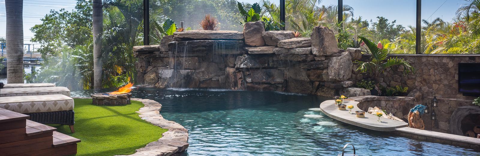 A lazy river runs through it custom pool on pine island for Swimming pool trade show florida