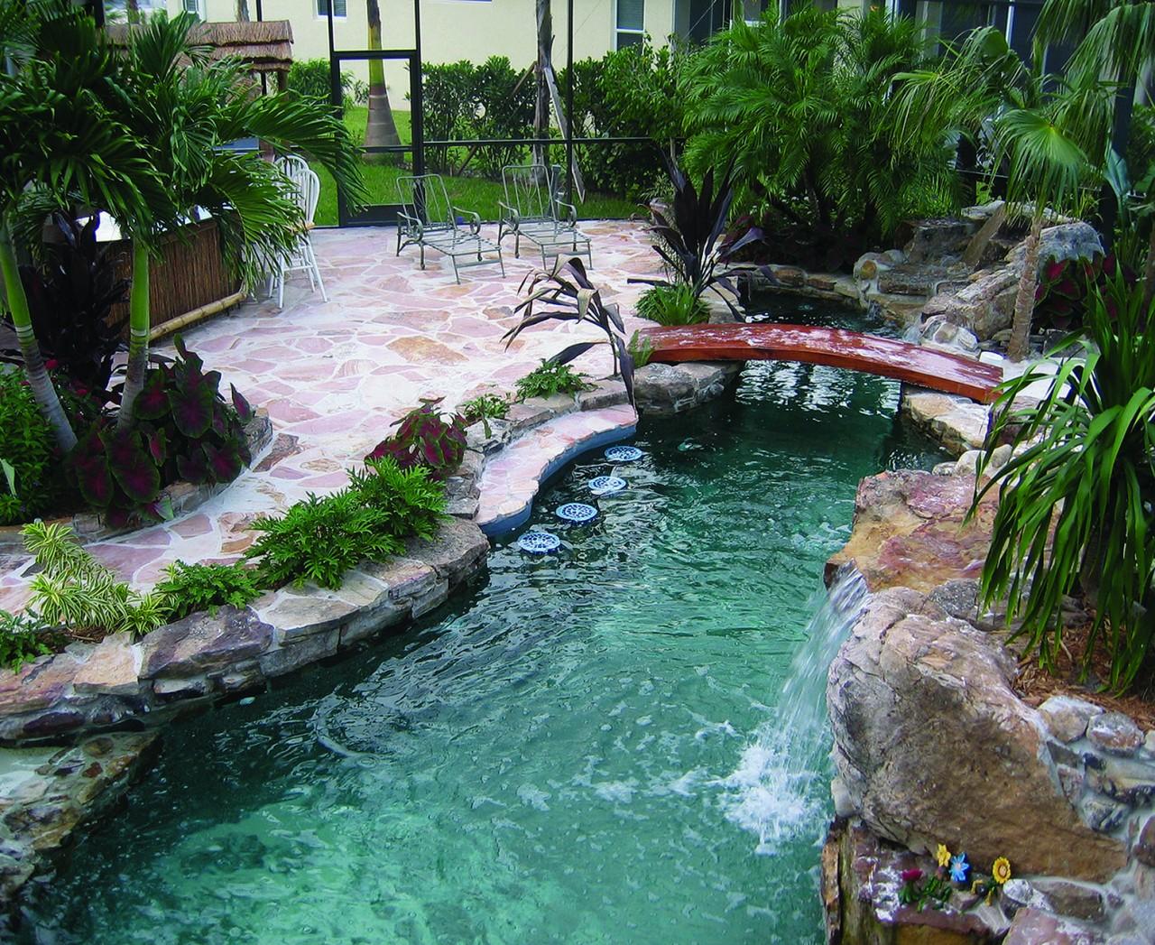 Lucas Lagoons Pool with Sand Bottom Entrance and Bridge