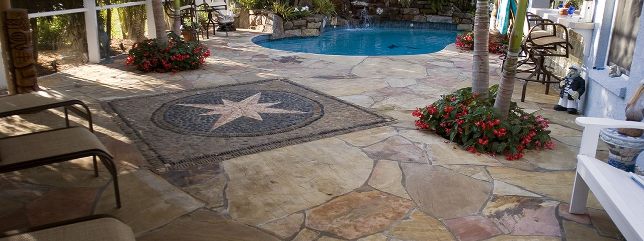 Image of Lagoon Pool Remodel With Mosaic Flagstone Deck