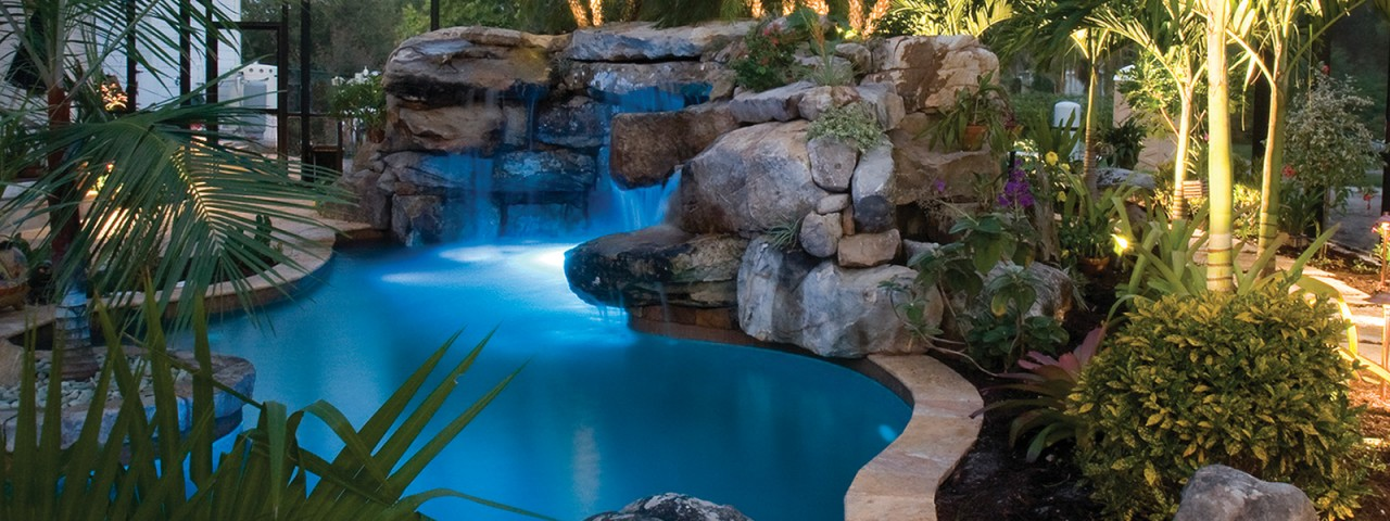 Image of Natural Lagoon Pool with Spa, Stream & Outdoor Kitchen