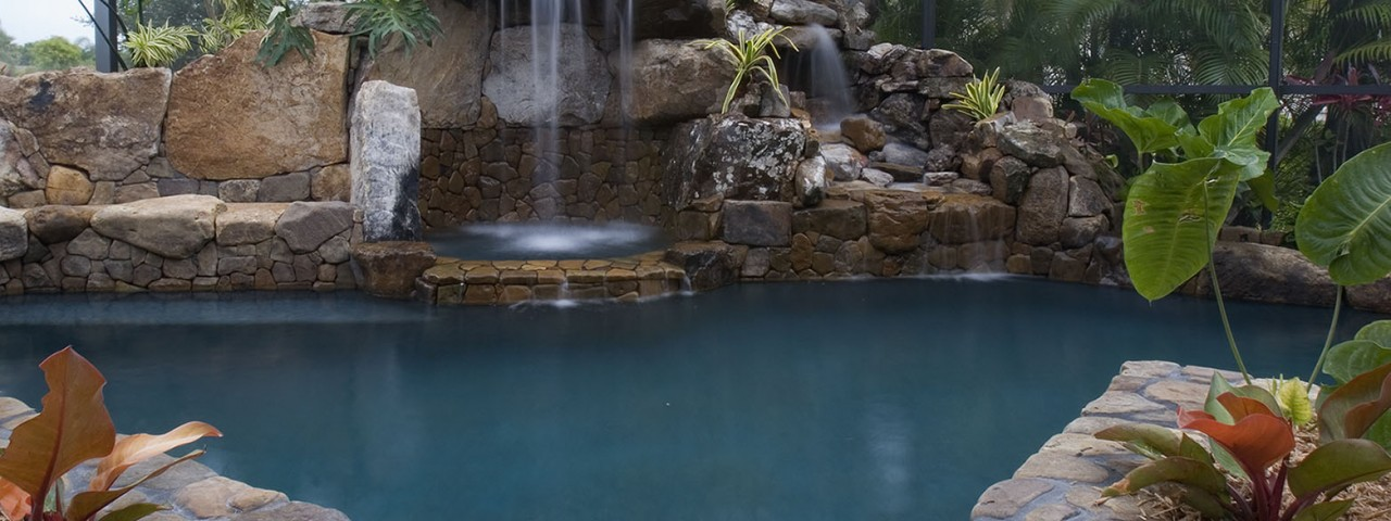 Image of Lagoon Waterfall Architectural Pool Remodel