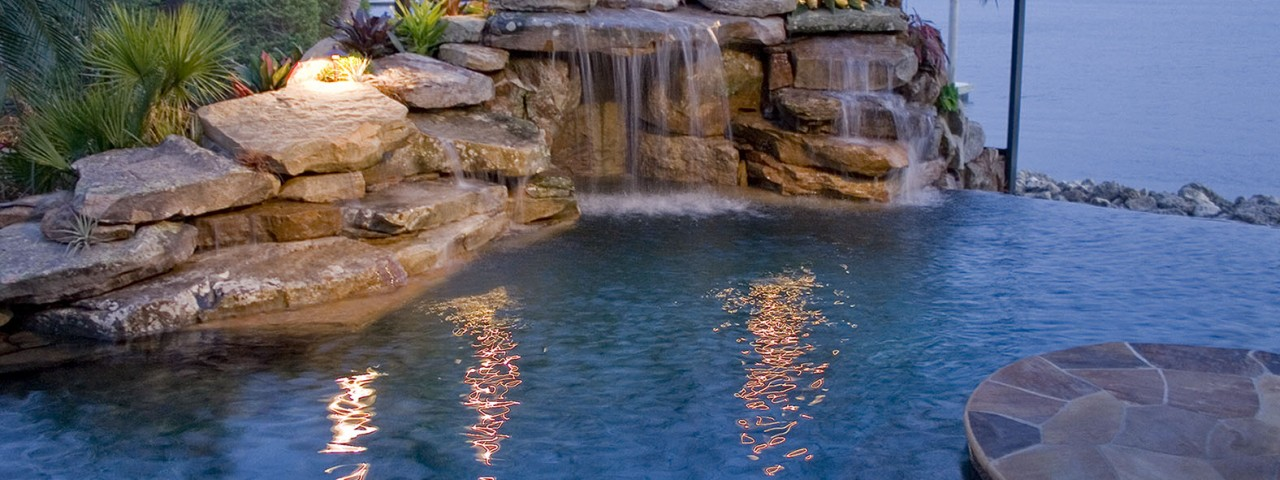 Image of Large Infinity Edge Natural Lagoon Pool