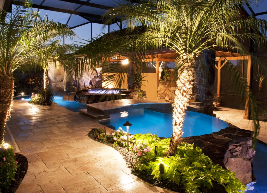 Swimming Pool and Spa with Outdoor Kitchen, Bar and Waterfalls ...