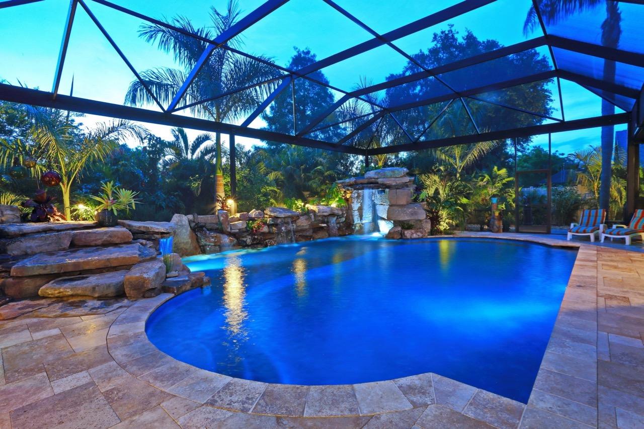 Natural Waterfall Custom Pool in Sarasota