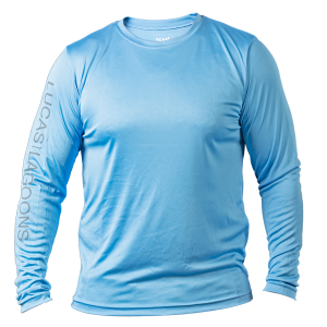 mens performance long sleeve blue front