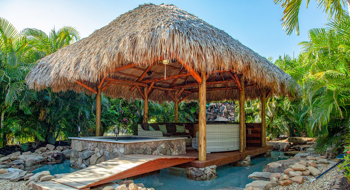 Pool tiki-hut features