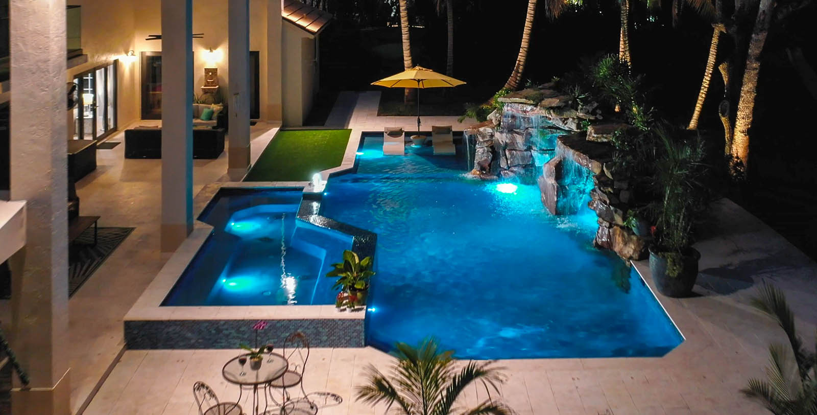 Image of Modern Pool with Natural Rock Grotto in Miami, Florida